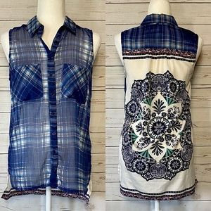 Zoe & Rose Band of Gypsies Button Up Tunic Blue XS